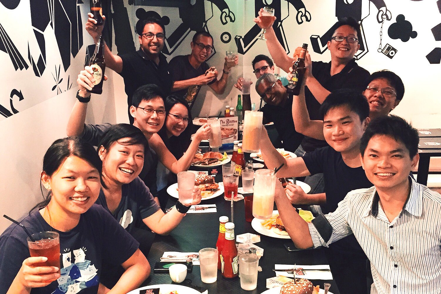The Buuuk team at Fatboy burger on one of the Friday dinners